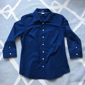 J.Crew / Navy Blue Button Down / Large